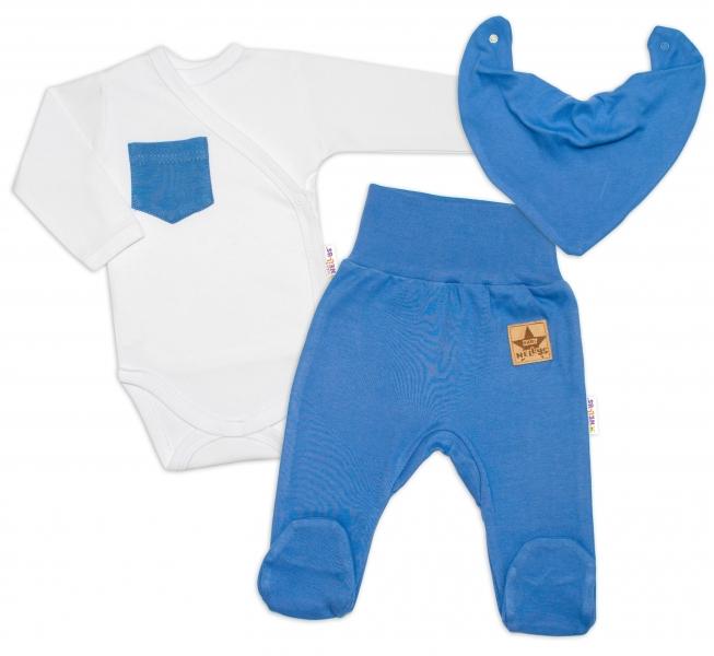 Baby Nellys 3-dielna sada Body dl. rukáv s vreckom, šatka, polodupačky, modrá, veľ. 56