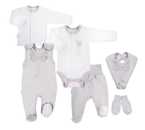 EEVI 6-dielna dojčenská súpravička do pôrodnice Mašlička - sivá-#Velikost koj. oblečení;50 (0-1m)