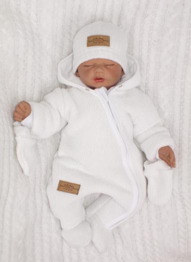 Zimná kombinéza s kapucňou a kožušinou + rukavičky, biela, veľ. 74