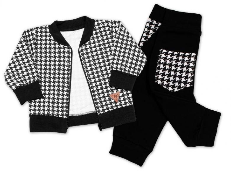 Detská bavlnená tepláková súprava KARKO - čierno, biela, veľ. 98