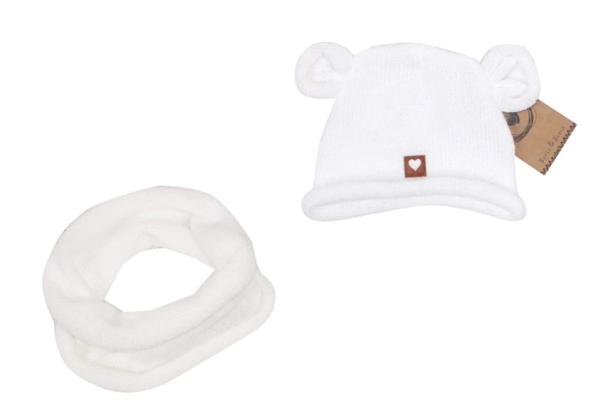 Pletená čiapka s uškami + komín, biela, 44-48, 6- 12 mes