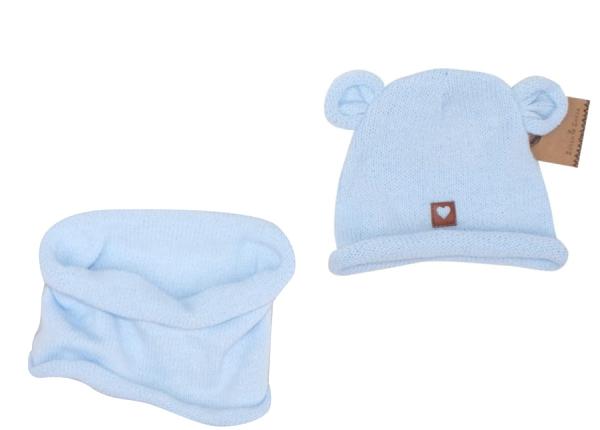 Z & Z Pletená čiapka s uškami + komín, svetlo modrá