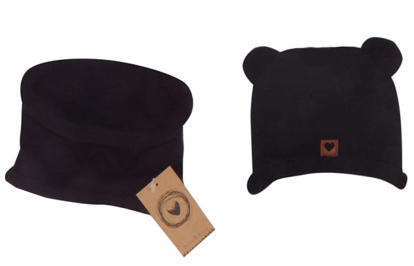 Pletená čiapka s uškami + komín, čierna, veľ 38 -44