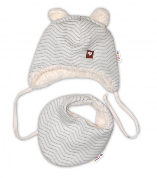 Baby Nellys Zimná kožušková čiapka s šatkou LOVE, šedý vzor, veĺ. 46/48cm