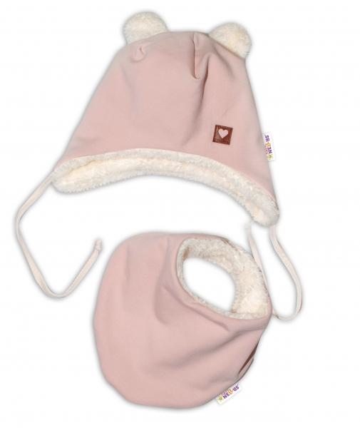 Baby Nellys Zimná kožušková čiapka s šatkou LOVE, pudrově ružová, veľ. 46/48 cm