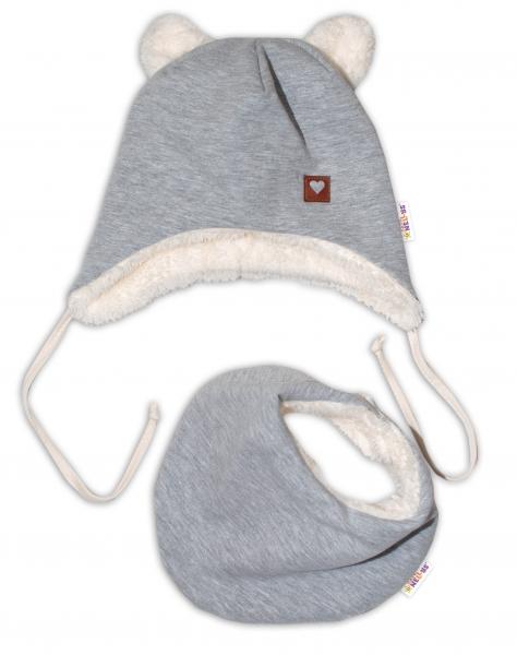 Baby Nellys Zimná kožušková čiapka s šatkou LOVE, šedá, veľ. 42/44 cm