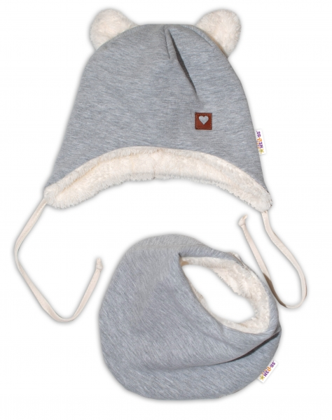 Baby Nellys Zimná kožušková čiapka s šatkou LOVE, šedá, veľ. 46/48 cm