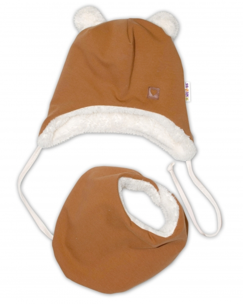 Baby Nellys Zimná kožušková čiapka s šatkou LOVE, medová horčica, veľ. 42/44 cm-#Velikost koj. oblečení;42/44 čepičky obvod