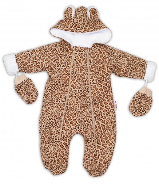 Baby Nellys Zimní kombinézka, s kapucňou a uškami + rukavičky, Gepard - hnědá , veľ. 74