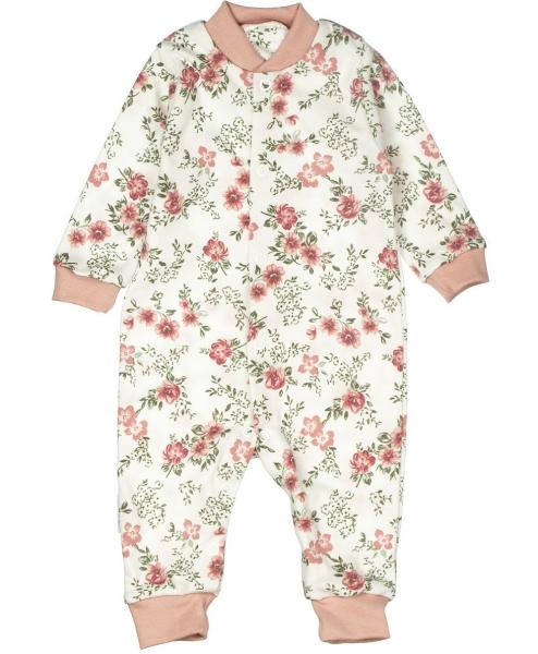Baby Bavlnený overal bez šlapiek - ROSE,  pudrová, vel. 56