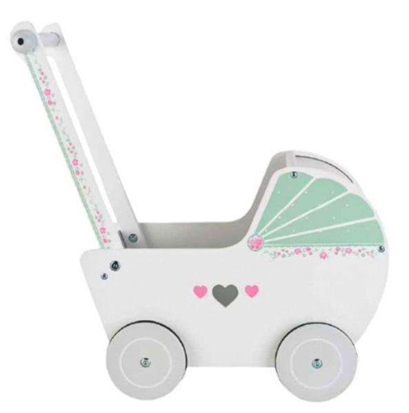 Eco toys Drevený kočík pre bábiky SRDIEČKO - ružový