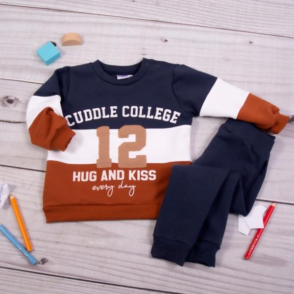 K-Baby Tepláková súprava College - granát/hnědá, veľ. 86-#Velikost koj. oblečení;86 (12-18m)