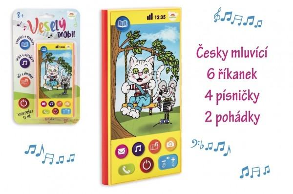 Veselý Mobil Telefón plast česky hovoriaci 7,5x15cm na batérie so zvukom na karte