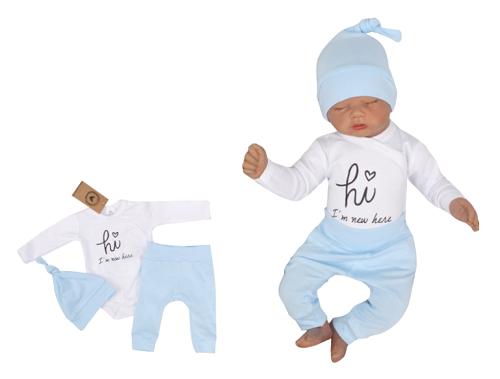 Z & Z 3-dielna súpravička body, tepláčky a čiapočka Hi I am new here - modrá-#Velikost koj. oblečení;50 (0-1m)