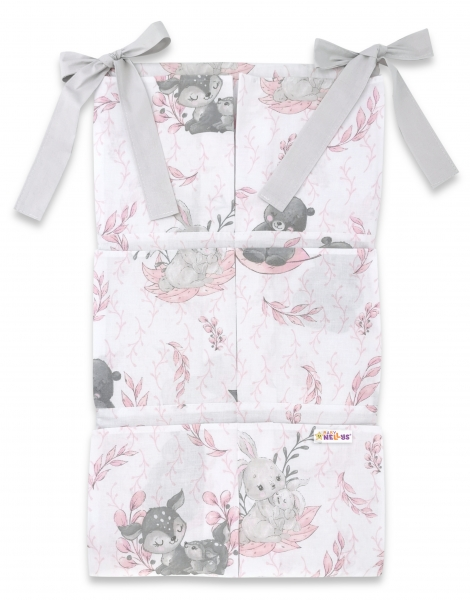Bavlnený vreckár na postieľku Baby Nellys 6 vreciek, LULU, ružová, šedá