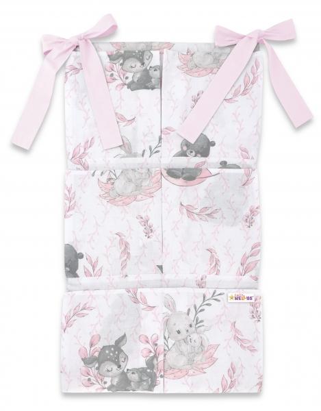 Bavlnený vreckár na postieľku Baby Nellys 6 vreciek, LULU, ružová