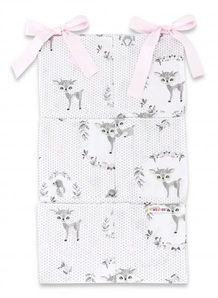 Bavlnený vreckár na postieľku Baby Nellys 6 vreciek, Koloušek, šedá, ružová
