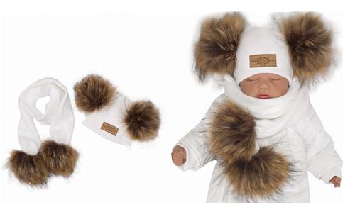 Z & Z Zimná čiapka s brmbolcami z kožušinky a šálom 2v1, biela