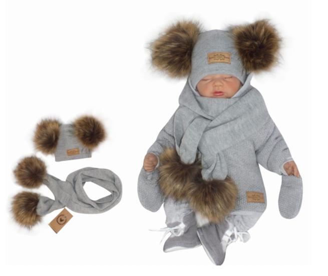 Z & Z Zimná čiapka s brmbolcami z kožušinky s šálou 2V1, sivá