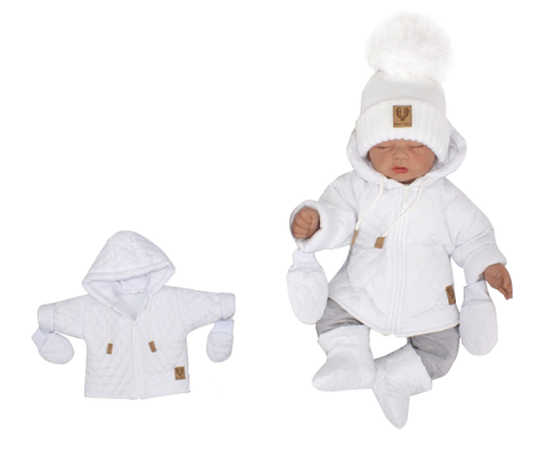 Z & Z Zimná prešívaná bundička s kapucňou + rukavičky - biela, veľ. 86