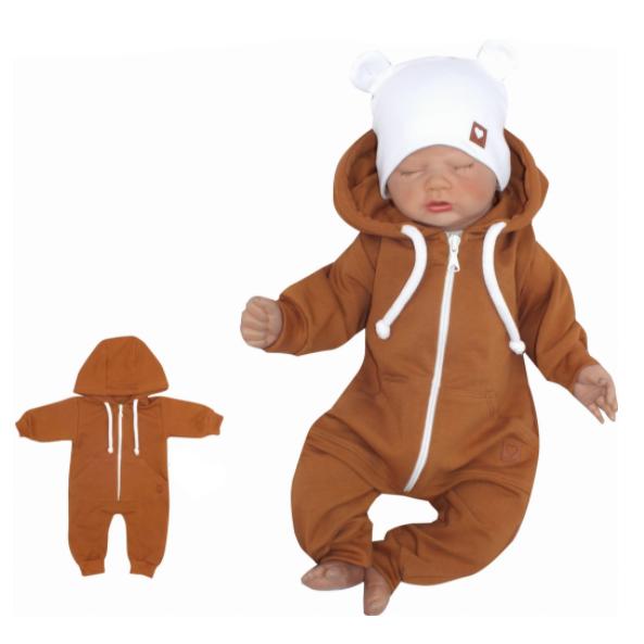 Z & Z Detský teplákový overal s kapucňou, hnedý-#Velikost koj. oblečení;56 (1-2m)