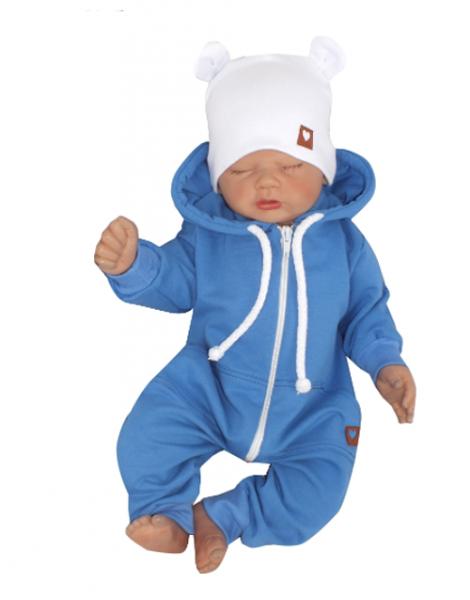 Z & Z Detský teplákový overal s kapucňou, modrý-#Velikost koj. oblečení;56 (1-2m)