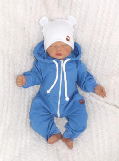 Detský teplákový overal s kapucňou, modrý, veľ. 68