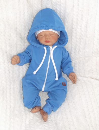 Detský teplákový overal s kapucňou, modrý, veľ. 80