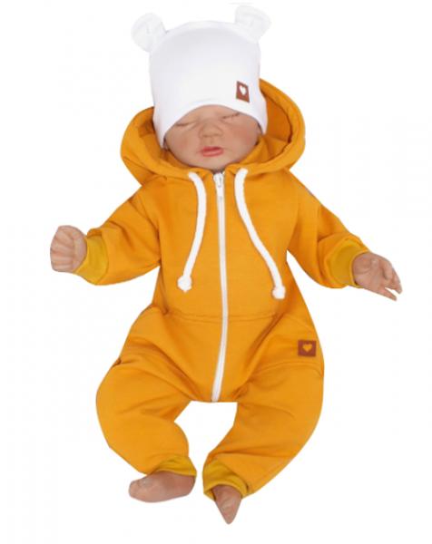 Detský teplákový overal s kapucňou, horčicový, veľ 56