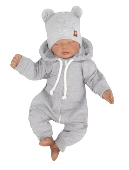 Detský teplákový overal s kapucňou, sivý, veľ. 68