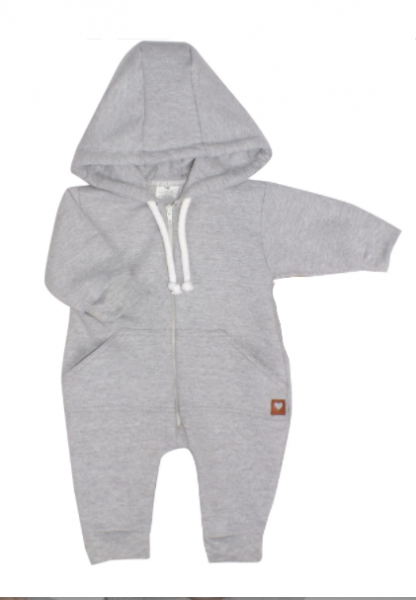 Detský teplákový overal s kapucňou, sivý, veľ. 74