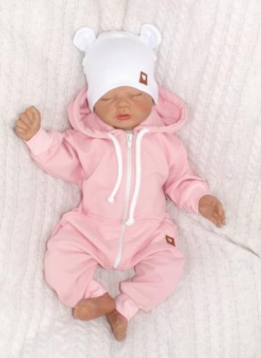 Detský teplákový overal s kapucňou, ružový, veľ. 62