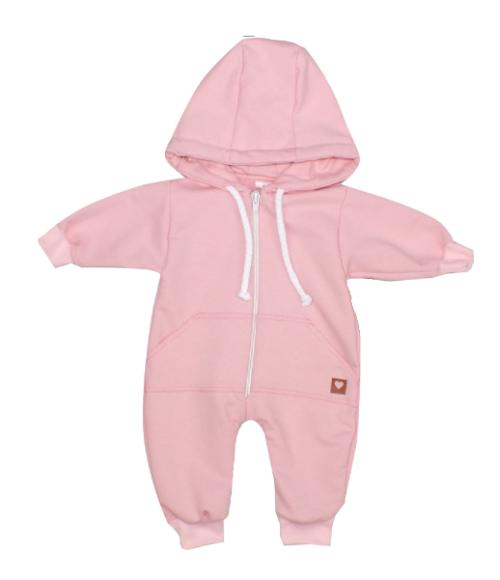 Detský teplákový overal s kapucňou, ružový, veľ. 74
