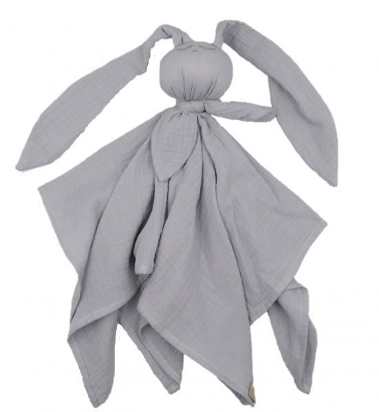 Hug Me Bunny Mušelínový maznáčik, plenka s oušky 65 x 60 cm, sivá
