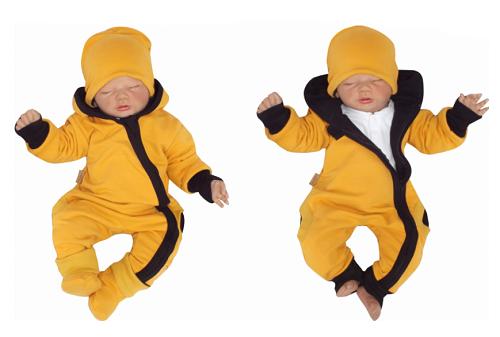 Z & Z Detský teplákový overal s kapucňou, čiapočkou a topánočkami, horčicový-#Velikost koj. oblečení;56 (1-2m)
