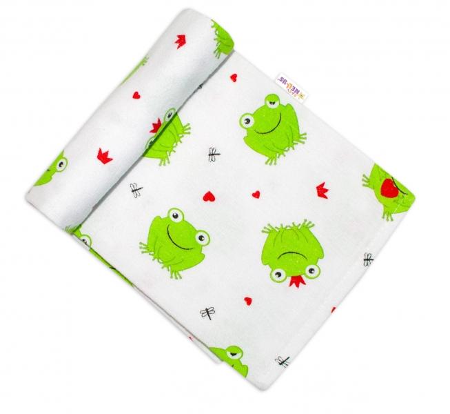 Baby Nellys Flanelová plienka, 70x80 cm - Žabička so srdiečkom, zelená
