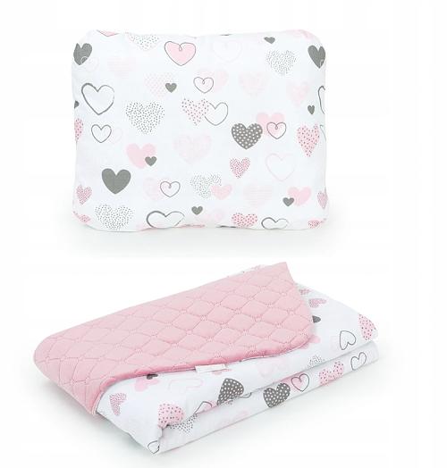Mamo Táto 2-dielna sada - obojstranná deka Velvet 75 x 100 cm s vankúšikom Srdiečka