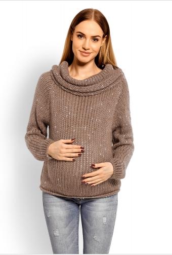 Be Maamaa Tehotenský vlnený sveter s rolákom - mocca