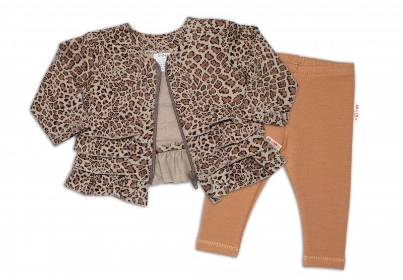 BABY NELLYS Tepláková súprava Gepard, 2 dielna, hnedá, veľ. 74-#Velikost koj. oblečení;74 (6-9m)