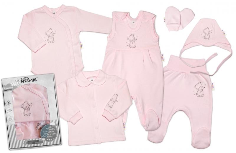 Baby Nellys Veľká sada do pôrodnice TEDDY, 6-dielna, ružová-#Velikost koj. oblečení;50 (0-1m)