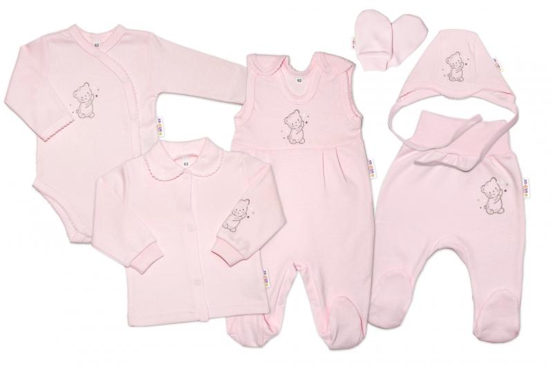 Kojenecká veľká súprava do pôrodnice TEDDY, 6-dielna, ružová, veľ 50
