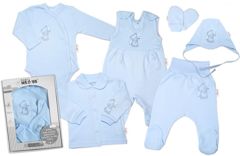 Baby Nellys Veľká sada do pôrodnice TEDDY, 6-ti dielna, modrá, veľ. 56
