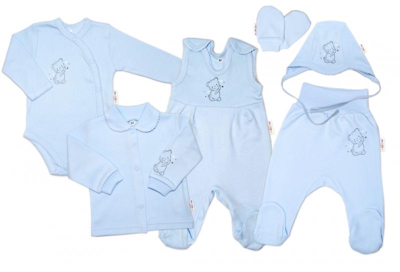 Kojenecká veľká súprava do pôrodnice TEDDY, 6-dielna, modrá, veľ. 56