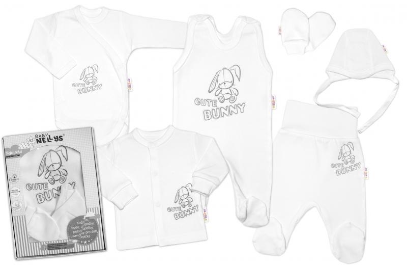 Baby Nellys Veľká sada do pôrodnice CUTE BUNNY, 6-dielna - biela-#Velikost koj. oblečení;50 (0-1m)