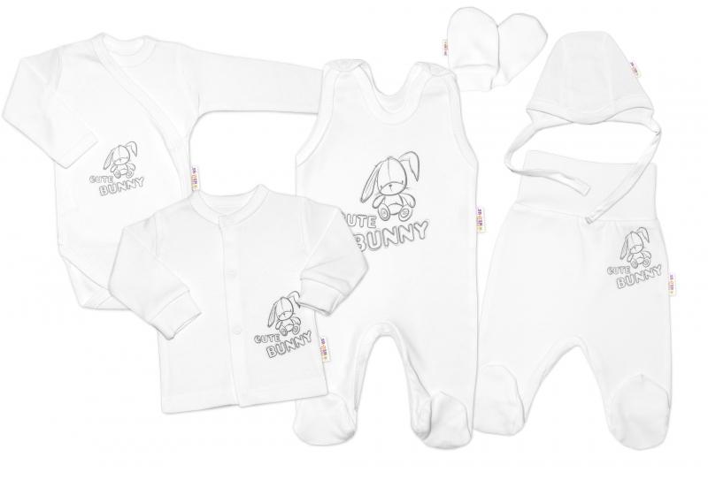 Kojenecká veľká súprava do pôrodnice CUTE BUNNY, 6-dielna - biela, vel. 56