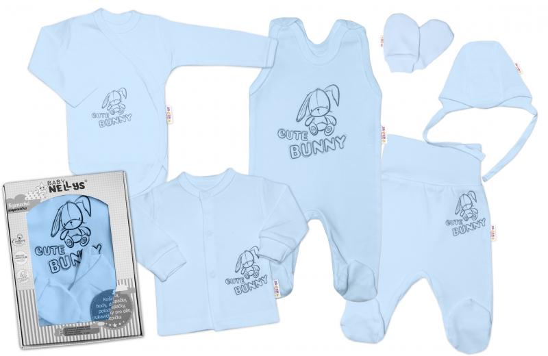 Baby Nellys Veľká sada do pôrodnice CUTE BUNNY, 6-dielna - modrá, vel. 62-#Velikost koj. oblečení;62 (2-3m)