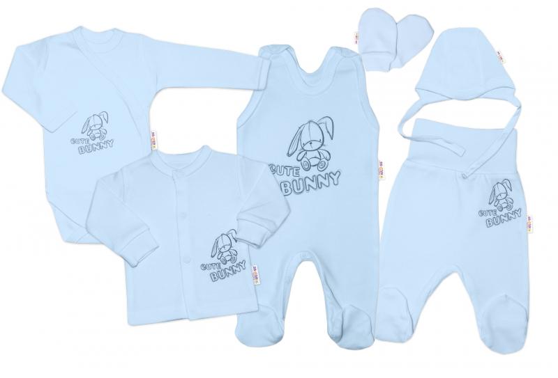 Kojenecká veľká súprava do pôrodnice CUTE BUNNY, 6-dielna - modrá, vel. 62