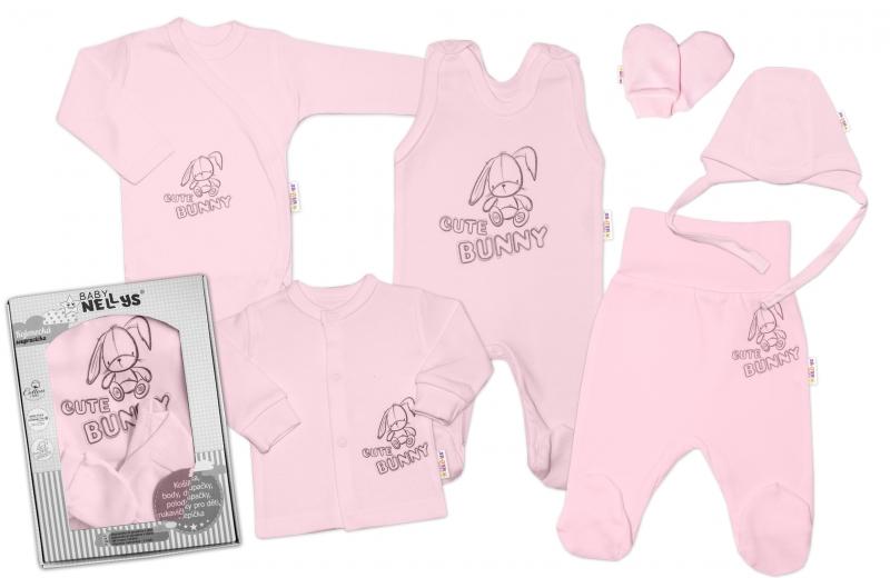 Baby Nellys Veľká sada do pôrodnice CUTE BUNNY, 6-dielna - ružová-#Velikost koj. oblečení;50 (0-1m)