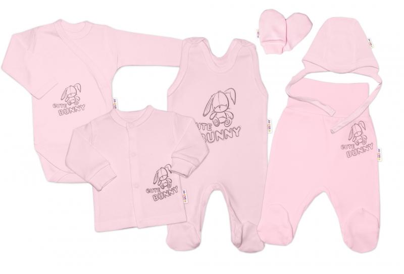 Kojenecká veľká súprava do pôrodnice CUTE BUNNY, 6-dielna - ružová, vel. 62