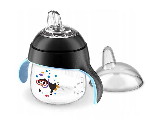 AVENT Prvý hrnček / fľaštička nekapek tučniakov Potápač- čierny